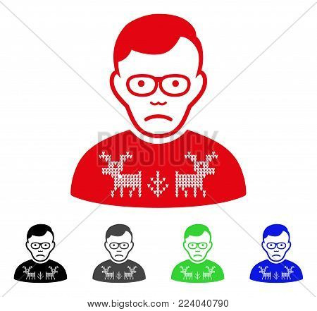 Sadly Deers Pullover Loser vector pictograph. Vector illustration style is a flat iconic deers pullover loser symbol with grey, black, blue, red, green color variants. Face has depressed emotions.