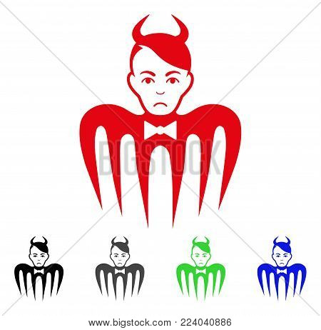 Unhappy Devil Spectre vector icon. Vector illustration style is a flat iconic devil spectre symbol with grey, black, blue, red, green color variants. Face has dolour emotions.