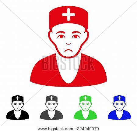 Unhappy Doctor vector icon. Vector illustration style is a flat iconic doctor symbol with grey, black, blue, red, green color versions. Face has sorrow expression.
