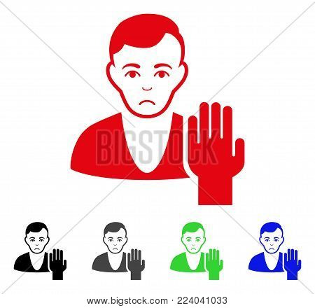 Sad Elector vector pictograph. Vector illustration style is a flat iconic elector symbol with gray, black, blue, red, green color versions. Face has sorrow emotions.