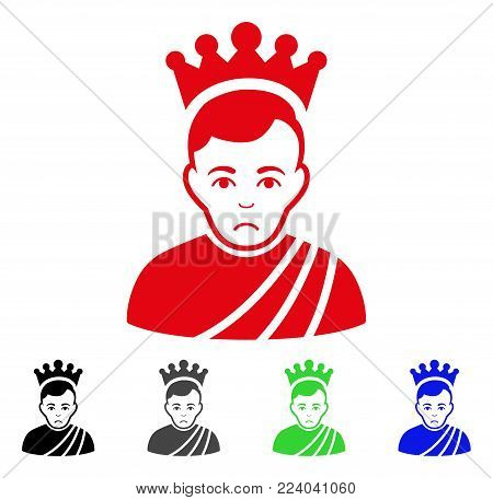 Sadly Emperor vector icon. Vector illustration style is a flat iconic emperor symbol with gray, black, blue, red, green color variants. Face has affliction mood.