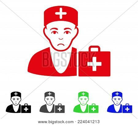 Sadly First-Aid Doctor vector pictogram. Vector illustration style is a flat iconic first-aid doctor symbol with grey, black, blue, red, green color versions. Face has sad expression.
