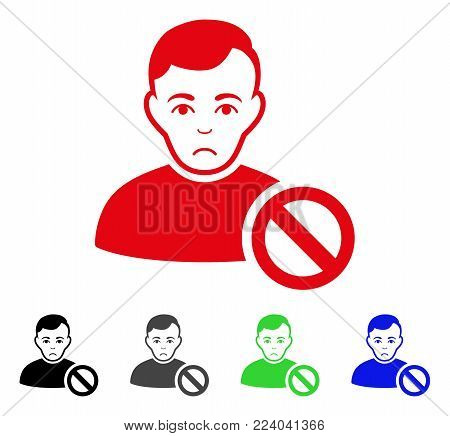 Pitiful Forbidden User vector pictogram. Vector illustration style is a flat iconic forbidden user symbol with grey, black, blue, red, green color versions. Face has dolor feeling.