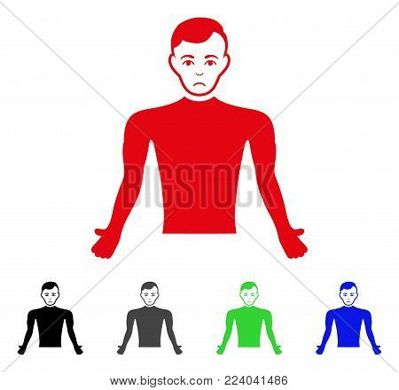 Dolor Guy Body vector pictograph. Vector illustration style is a flat iconic guy body symbol with gray, black, blue, red, green color versions. Face has depressed emotions.