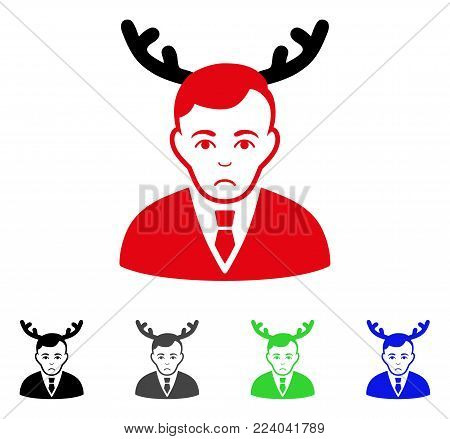 Dolor Horned Husband vector pictograph. Vector illustration style is a flat iconic horned husband symbol with grey, black, blue, red, green color variants. Face has sadness feeling.