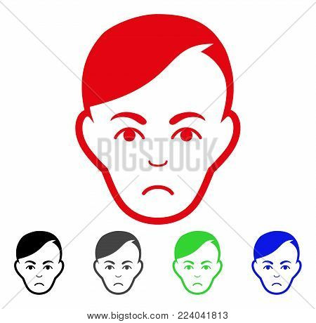 Pitiful Human Head vector pictograph. Vector illustration style is a flat iconic human head symbol with gray, black, blue, red, green color variants. Face has grief mood.