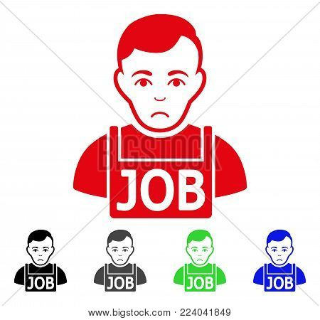 Unhappy Jobless vector icon. Vector illustration style is a flat iconic jobless symbol with grey, black, blue, red, green color versions. Face has affliction emotions.