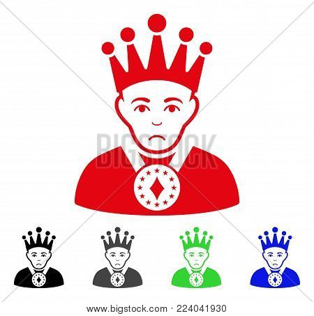 Unhappy King vector icon. Vector illustration style is a flat iconic king symbol with gray, black, blue, red, green color versions. Face has sorrow mood.