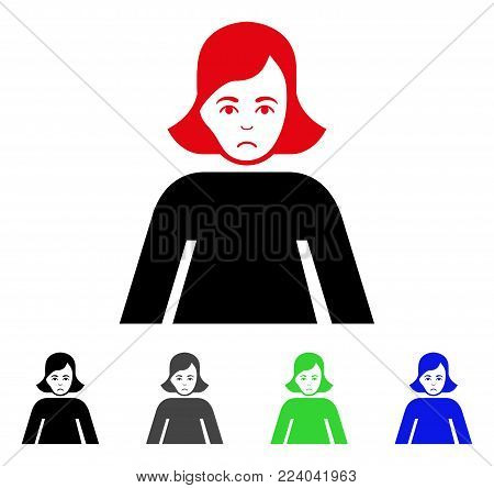 Sad Lady vector pictogram. Vector illustration style is a flat iconic lady symbol with gray, black, blue, red, green color versions. Face has unhappy mood.