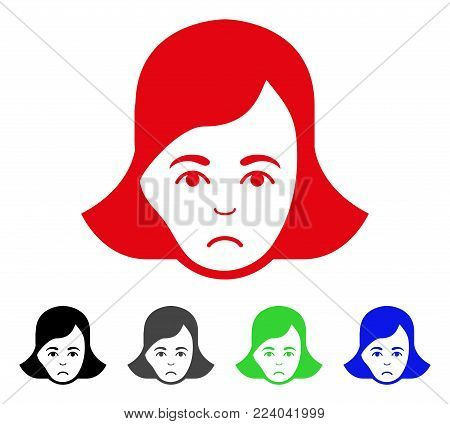 Pitiful Lady Face vector pictogram. Vector illustration style is a flat iconic lady face symbol with gray, black, blue, red, green color variants. Face has pitiful expression.