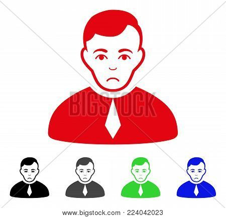 Sad Lawyer vector icon. Vector illustration style is a flat iconic lawyer symbol with gray, black, blue, red, green color variants. Face has sorrow expression.