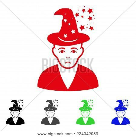 Dolor Magic Master vector pictograph. Vector illustration style is a flat iconic magic master symbol with gray, black, blue, red, green color variants. Face has dolour expression.