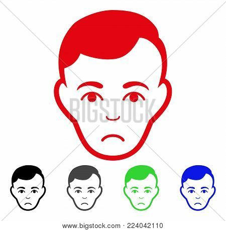 Sad Man Face vector pictograph. Vector illustration style is a flat iconic man face symbol with gray, black, blue, red, green color variants. Face has mourning expression.