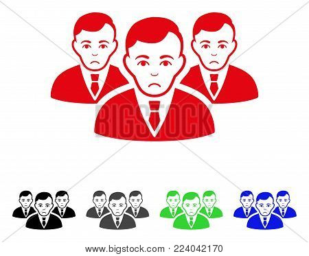 Pitiful Manager Group vector pictogram. Vector illustration style is a flat iconic manager group symbol with gray, black, blue, red, green color variants. Face has depressed emotions.