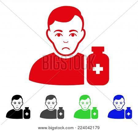 Dolor Medical Pharmacist vector pictograph. Vector illustration style is a flat iconic medical pharmacist symbol with grey, black, blue, red, green color versions. Face has grief feeling.