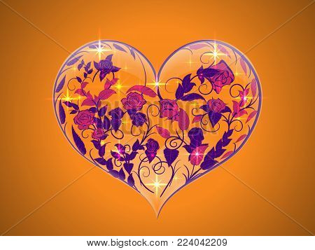 Fragile glass Valentine by orange background in the form of three-dimensional heart from intertwined twisted branches of roses with leaves and buds ultra violet color within it. For decoration greetings for Valentines day