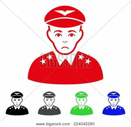 Dolor Military Pilot Officer vector pictogram. Vector illustration style is a flat iconic military pilot officer symbol with gray, black, blue, red, green color variants. Face has affliction emotions.