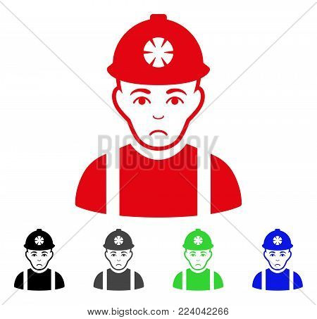 Sad Miner vector icon. Vector illustration style is a flat iconic miner symbol with grey, black, blue, red, green color versions. Face has desperate emotions.