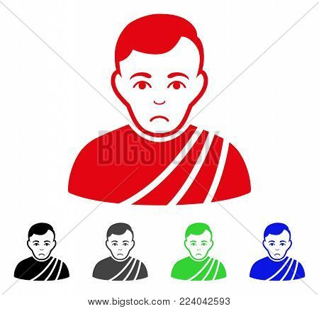 Pitiful Patrician Citizen vector pictogram. Vector illustration style is a flat iconic patrician citizen symbol with gray, black, blue, red, green color variants. Face has stress feeling.