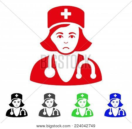 Dolor Physician Lady vector icon. Vector illustration style is a flat iconic physician lady symbol with gray, black, blue, red, green color variants. Face has dolour emotions.