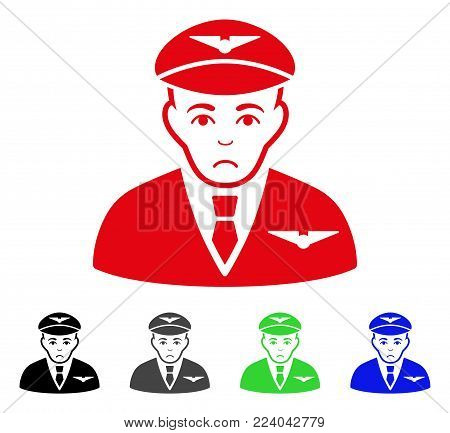 Sad Pilot vector pictogram. Vector illustration style is a flat iconic pilot symbol with gray, black, blue, red, green color variants. Face has problem emotions.