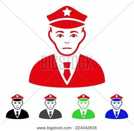 Pitiful Policeman vector icon. Vector illustration style is a flat iconic policeman symbol with gray, black, blue, red, green color versions. Face has desperate expression.
