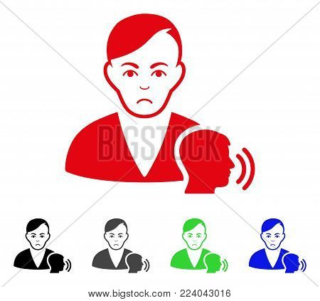 Sad Psychoanalysis Talking vector pictograph. Vector illustration style is a flat iconic psychoanalysis talking symbol with gray, black, blue, red, green color versions. Face has depressed emotions.