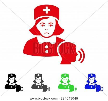Dolor Psychotherapist Nurse Talking vector icon. Vector illustration style is a flat iconic psychotherapist nurse talking symbol with grey, black, blue, red, green color versions.