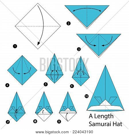 step by step instructions how to make origami A Length Samurai Hat