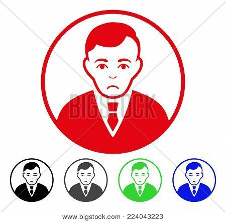 Dolor Rounded Gentleman vector pictogram. Vector illustration style is a flat iconic rounded gentleman symbol with gray, black, blue, red, green color variants. Face has stress feeling.