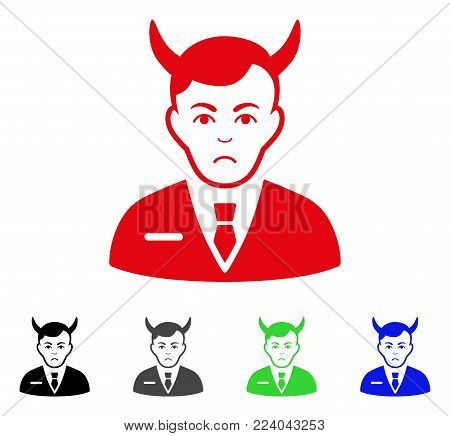 Unhappy Satan vector pictograph. Vector illustration style is a flat iconic satan symbol with gray, black, blue, red, green color variants. Face has depression expression.