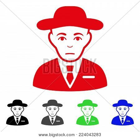 Sadly Secret Service Agent vector icon. Vector illustration style is a flat iconic secret service agent symbol with grey, black, blue, red, green color variants. Face has unhappy expression.