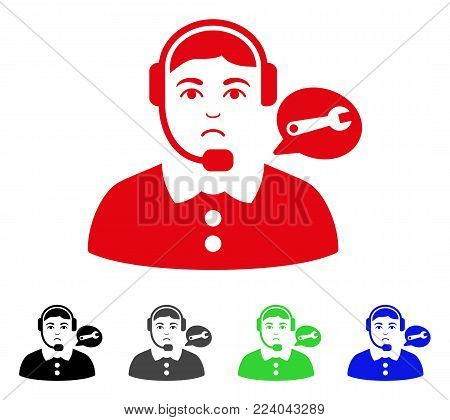 Dolor Service Center Lady vector pictograph. Vector illustration style is a flat iconic service center lady symbol with gray, black, blue, red, green color variants. Face has sadly mood.