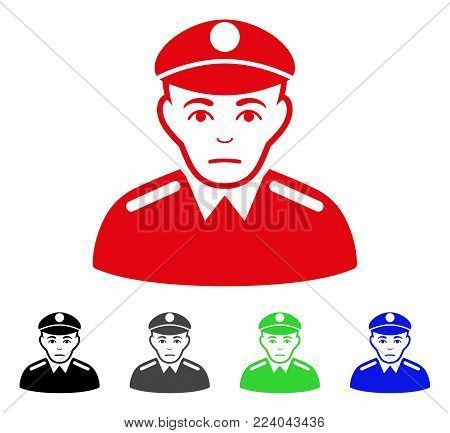 Pitiful Soldier vector icon. Vector illustration style is a flat iconic soldier symbol with grey, black, blue, red, green color versions. Face has problem emotion.