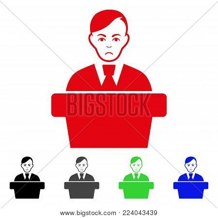 Unhappy Speaker Gentleman vector pictograph. Vector illustration style is a flat iconic speaker gentleman symbol with grey, black, blue, red, green color versions. Face has dolour emotions.