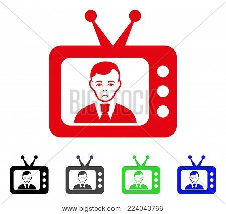 Dolor TV Dictor vector icon. Vector illustration style is a flat iconic tv dictor symbol with gray, black, blue, red, green color versions. Face has depressed expression.