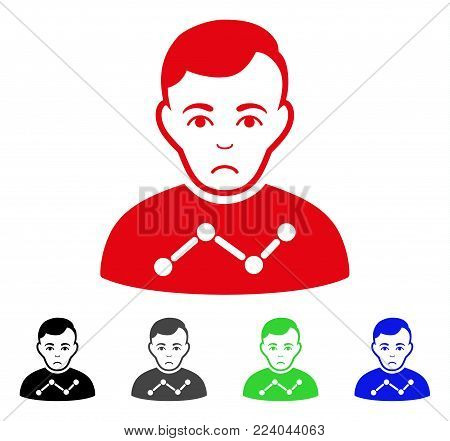 Dolor User Stats vector pictogram. Vector illustration style is a flat iconic user stats symbol with gray, black, blue, red, green color variants. Face has grief expression.