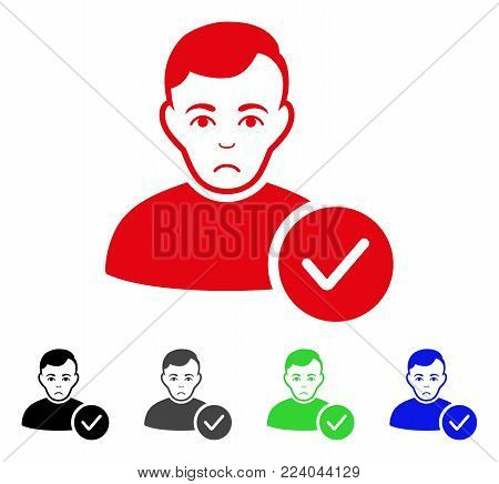 Sadly User Valid vector pictograph. Vector illustration style is a flat iconic user valid symbol with gray, black, blue, red, green color versions. Face has mourning expression.