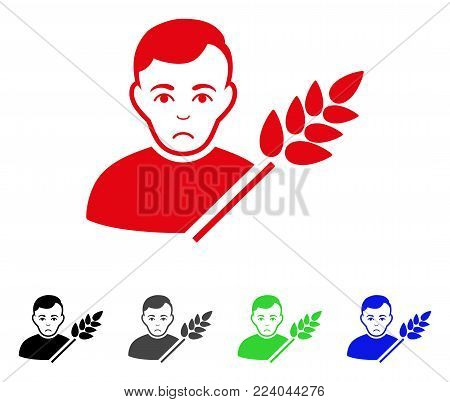Unhappy Wheat Farmer vector pictograph. Vector illustration style is a flat iconic wheat farmer symbol with gray, black, blue, red, green color variants. Face has sorrow sentiment.
