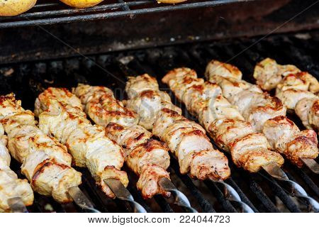Juicy roasted kebabs on the BBQ meat fire shish kebab