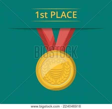 First place golden medal with red ribbon. Championship award, trophy cup vector illustration. Sport competition ceremony event website banner, favorite prize symbol, victory celebration poster.