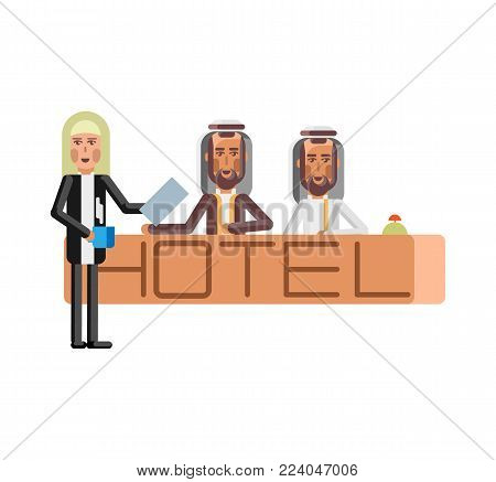 Arabic receptionists standing at hotel reception desk. Corporate business people isolated vector illustration.