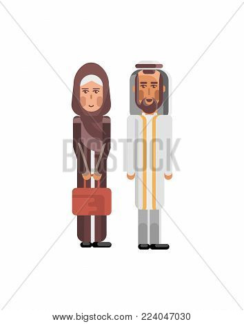 Arabic couple in traditional national clothes. Arab family isolated vector illustration.