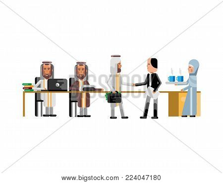 Business meeting arabic and european businessmen in conference room. Corporate business people isolated vector illustration.