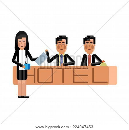 Asian receptionists at hotel reception desk. Corporate business people isolated vector illustration.