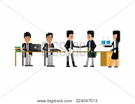 Business meeting asian businessmen in conference room. Corporate business people isolated vector illustration.