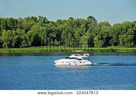 Motorboat on the Dnieper river, Kiev, Ukraine
