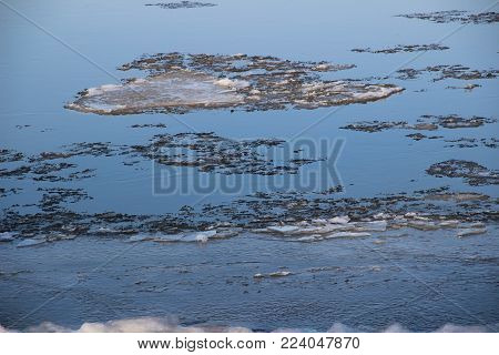 Ice Drift On The River / Floes Float On The Water / Late Autumn On The River / Spring On The River