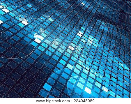 Technology background with cells or scales. Abstract computer-generated image - fractal. Bright backdrop with perspective and metallic luster. For web design, covers, banners