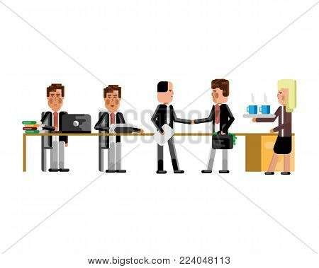 Business meeting european businessmen in conference room. Corporate business people isolated vector illustration.